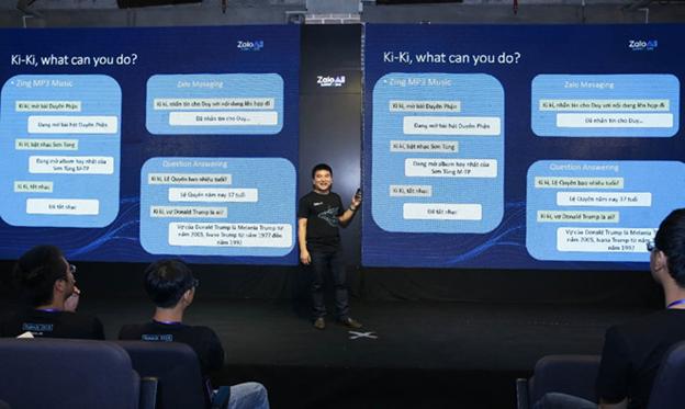 Ông Phạm Kim Long từ Zalo AI Lab giới thiệu về Trợ lý ảo Ki-Ki trong hội thảo Zalo AI Summit